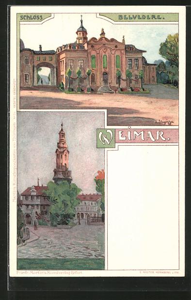 Künstler-Lithographie Albert Stagura: Weimar, Schloss Belvedere