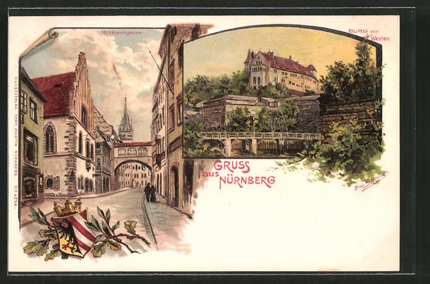 Künstler-AK Erwin Spindler: Nürnberg, Rathausgasse, Burg von Westen