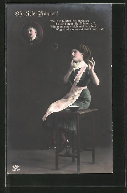 AK junge Dame bläst Seifenblase mit Männerporträt in die Luft