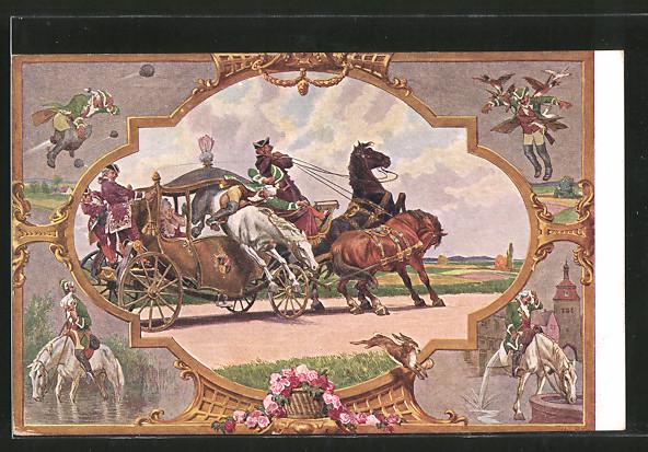Künstler-AK Paul Hey: Baron von Münchhausen springt mit seinem Pferd durch eine Pferdekutsche