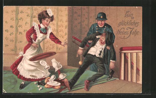 Präge-AK Polizist bringt einen Betrunkenen nach Hause, Dienstmädchen lässt das Tablett fallen, Trinkerhumor, Neujahr