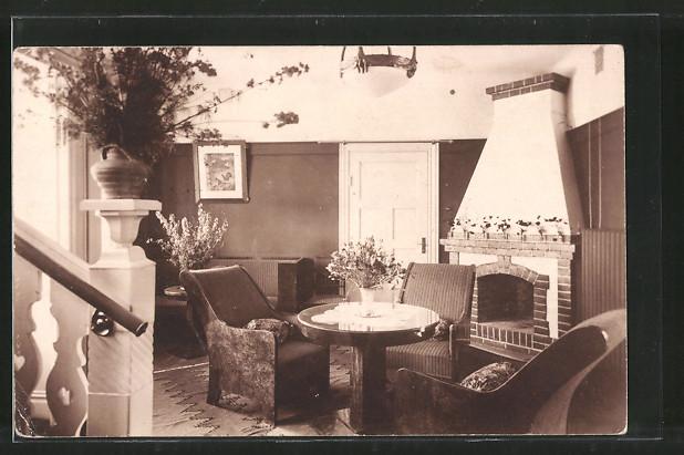 Foto-AK Wohnzimmer, eingerichtet im Art Deco Stil