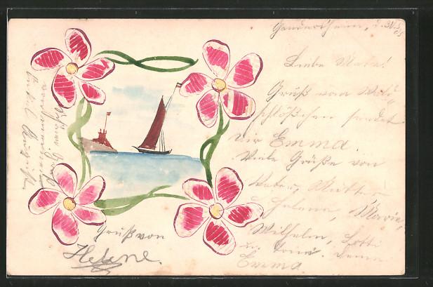 Papierkunst-AK Segelboot an einer Küste, gerahmt von Blumen