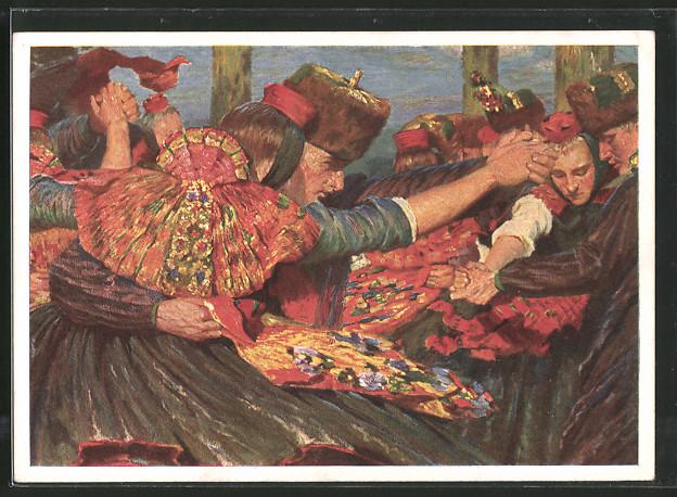 Künstler-AK Hessischer Bauerntanz, Tanzpaare in hessischer Tracht
