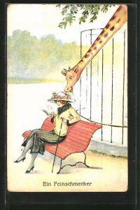 AK Ein Feinschmecker, Giraffe frisst den Hut einer Frau