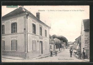 AK Gouaix, La mairie, la caisse d'épargne et la rue de l'église