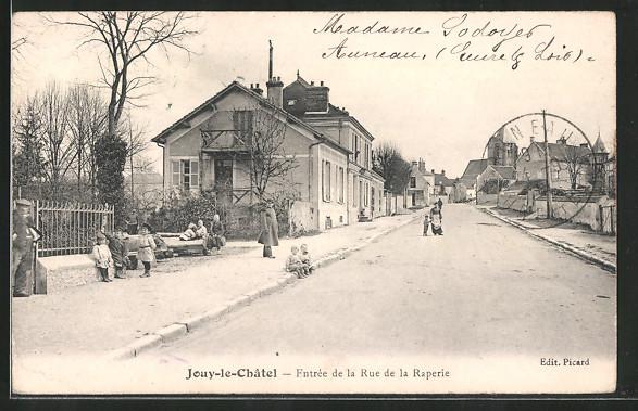 AK Jouy-le-Châtel, Entrée de la rue de la raperie