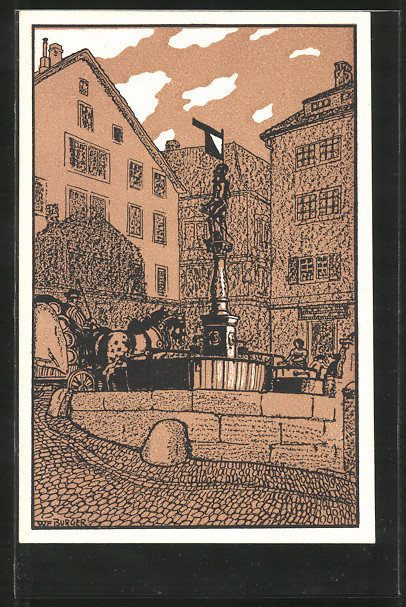 Künstler-AK Zürich, Stüssihofstatt mit Brunnen Nr. 7071811 ...