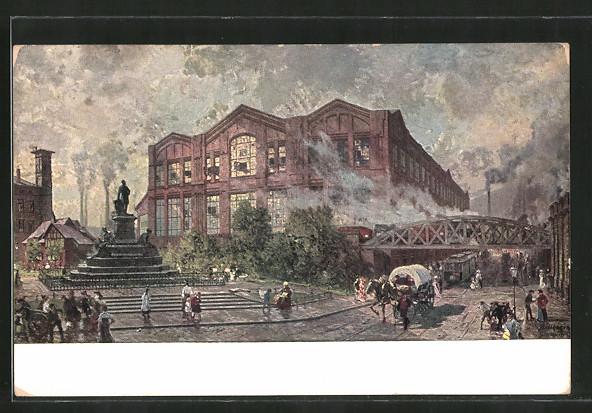 Künstler-AK Essen, Gussstahlfabrik Krupp AG, VIII. Mechanische Werkstatt