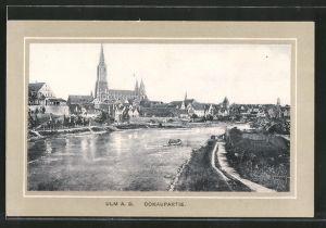 AK Ulm, Donaupartie, Blick zum Münster