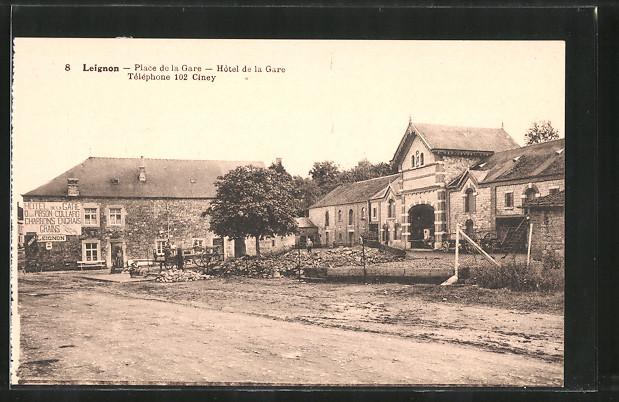 AK Leignon, Place de la Gare, Hotel de la gare