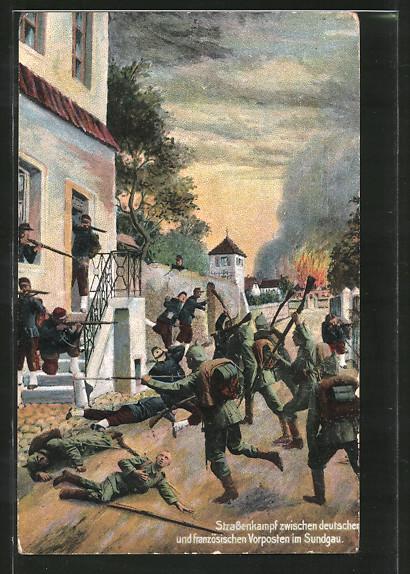 AK Sundgau, Strassenkampf zwischen dt. u. franz. Vorposten