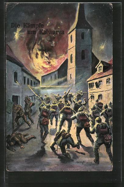 Künstler-AK Kalwarya, Infanteristen im Strassenkampf