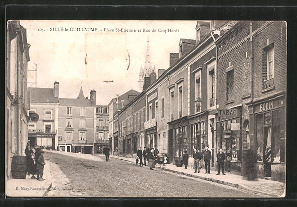 AK Sillè-le-Guillaume, Place St-Etienne et rue du Coq-Hardi