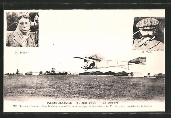 AK Paris, Flug Paris-Madrid 1911, Piloten M. Bonnier & M. Train starten mit ihrem Flugzeug
