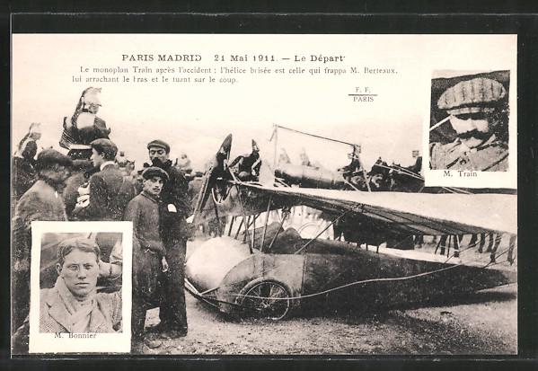 AK Paris, Flug Paris-Madrid 1911, Piloten M. Train & M. Bonnier mit ihrem Flugzeug beim Start