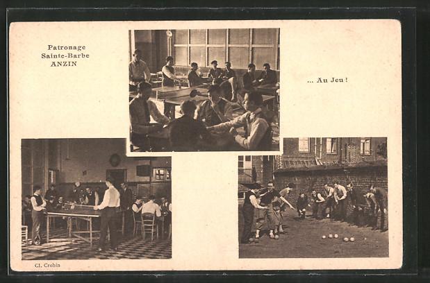 AK Anzin, Patronage Sainte-Barbe, Jugendliche spielen Tischtennis und Boule