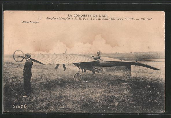 AK La Conquéte de l'air, Pilot Esnault-Pelterie mit seinem Flugzeug