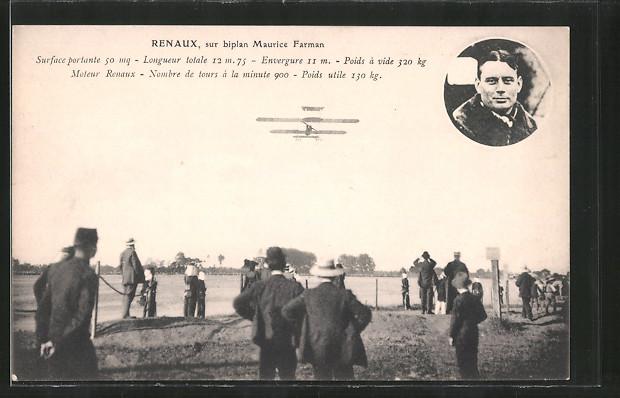 AK Pilot Renaux mit seinem Flugzeug Maurice Farman, Doppeldecker