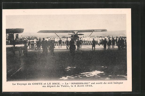 AK Le Voyage de Coste et Le Brix, Flugzeug Nungesser-Coli vor dem Start zum Flug nach Tokio 1928