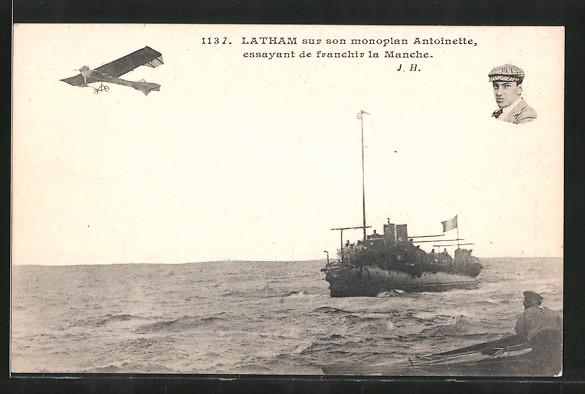 AK Pilot Latham mit seinem Flugzeug Antoinette