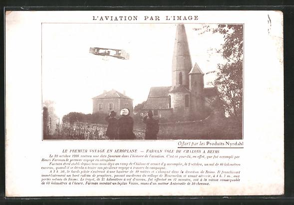 AK Chalons, Le premier voyage en aeroplane, Farman vole, Flugzeug