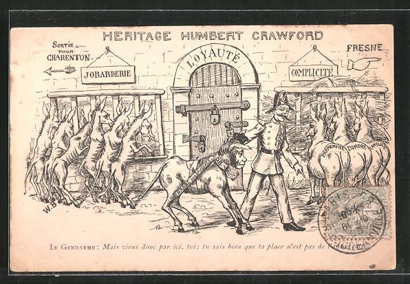AK Affaire Humbert-Crawford, Karikatur, Heritage Humbert Crawford, Polizist führt einen Esel mit Frauengesicht ab