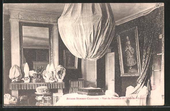 AK Salles, Affaire Humbert-Crawford, Vue du Domaine de Céleyran, Grand Salon, Intérieur