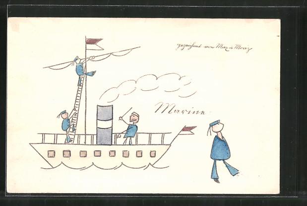 Künstler-AK Wilhelm Busch: Matrosen an Bord eines Schiffes, gezeichnet von Max und Moritz
