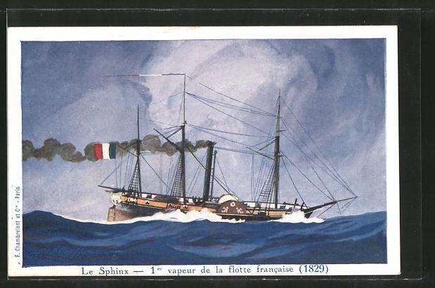 Künstler-AK 1er vapeur de la flotte francaise