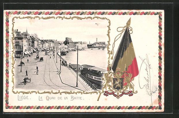 Passepartout-Lithographie Liège, Le quai de la Batte, Wappen, Fahne, Dampfer