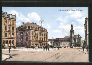 AK Luxembourg, La gare et place de la gare, Bahnhof