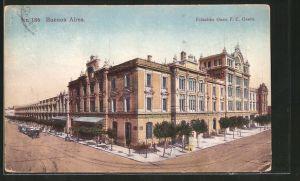 AK Buenos Aires, Estación Once FC Oeste, Strassenbahn vor dem Bahnhof