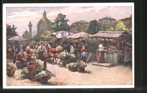 Künstler-AK Wien, Markttag auf dem Naschmarkt
