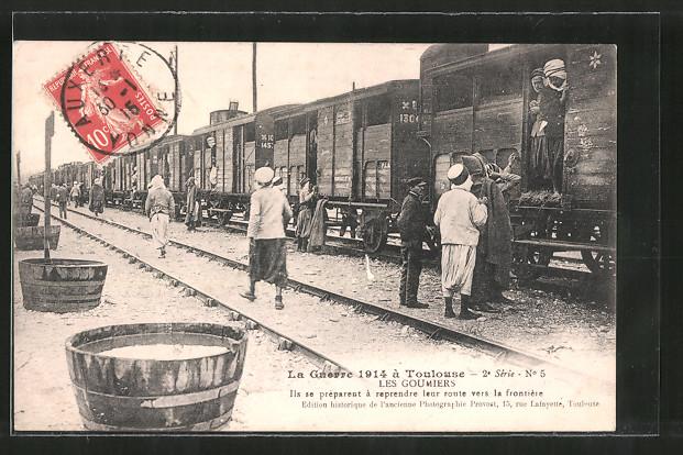AK Toulouse, Les Goumiers 1914 , Militärbahn mit franz. Kolonialinfanterie