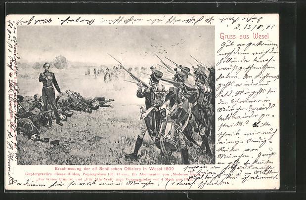 AK Wesel, Erschiessung der 11 Schillschen Offiziere 1809, Befreiungskriege