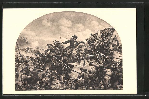 Künstler-AK Turin, Kavallerie greift Infanteristen in der Schlacht 1706 an