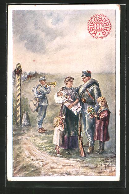 Künstler-AK Kriegsjahr 1914, Witwen- und Waisen-Hilfsfond, Österreichische Soldaten mit Frau und Kindern