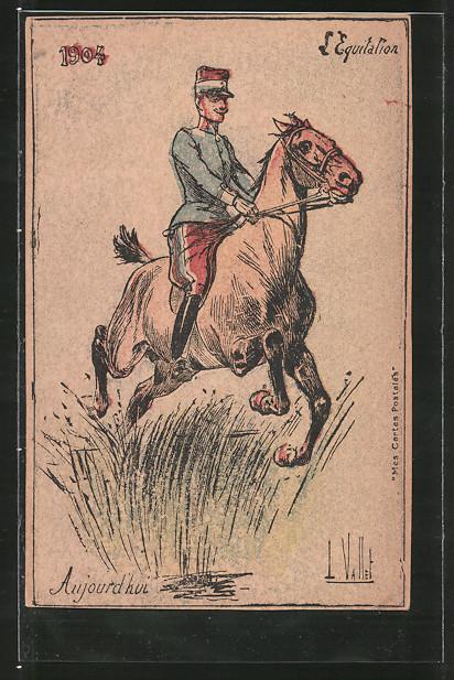 Künstler-AK L'Equitation, Reiter der französ. Kavallerie