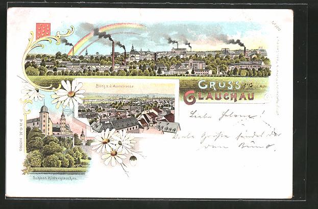 Lithographie Glauchau, Schloss Hinterglauchau, Blick von der Auestrasse auf die Stadt, Ortspanorama