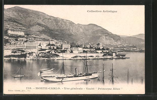 AK Monte-Carlo, Panorama mit Yacht Princesse-Alice