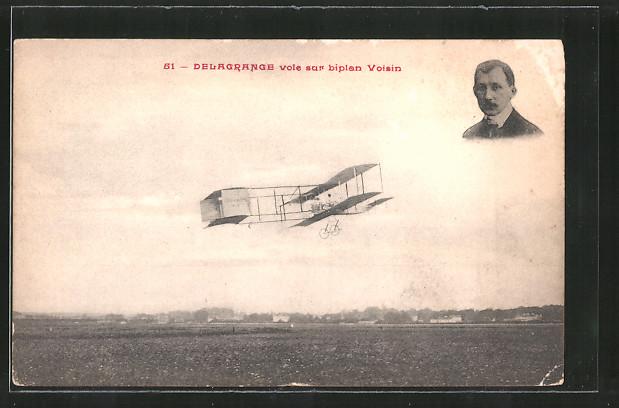 AK Pilot Delagrange mit seinem Flugzeug Voisin, Doppeldecker