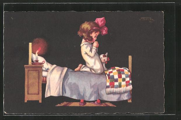 Künstler-AK sign. Roberto Sgrilli: Mädchen betet im Bett, Hund