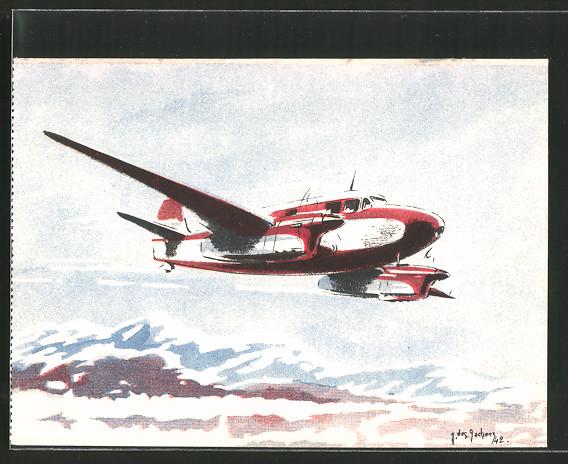 Künstler-AK Flugzeug Caudron Goéland im Flug