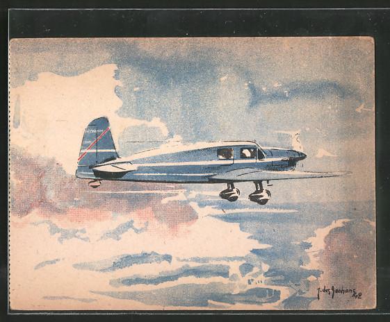 Künstler-AK Flugzeug Caudron Simoun im Flug