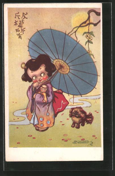 Künstler-AK sign. Robert Sgrilli: Mädchen mit Hund und Sonnenschirm, Puppe