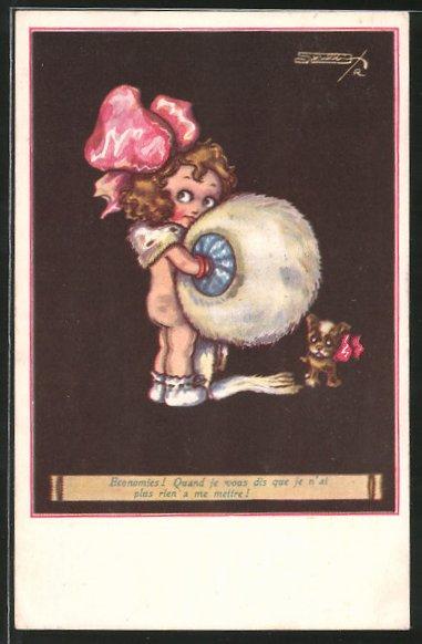 Künstler-AK sign. Robert Sgrilli: kleines Mädchen mit Muff und Hund