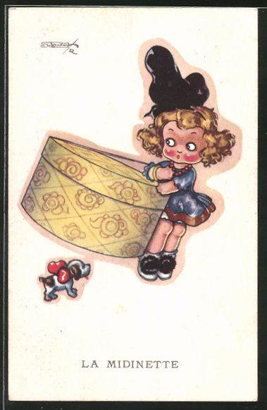 Künstler-AK sign. Robert Sgrilli: La Midinette, Mädchen trägt einen Hutkarton, Hund