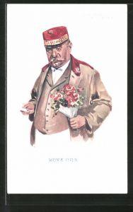 Künstler-AK Wien, Dienstmann mit einem Blumenstrauss, Wiener Typen