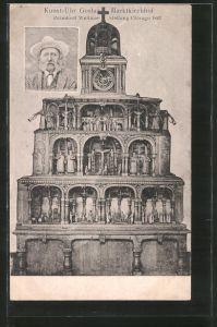 AK Kunst-Uhr Goslar, Marktkirchhof, prämiert auf der Weltausstellung Chicago 1893